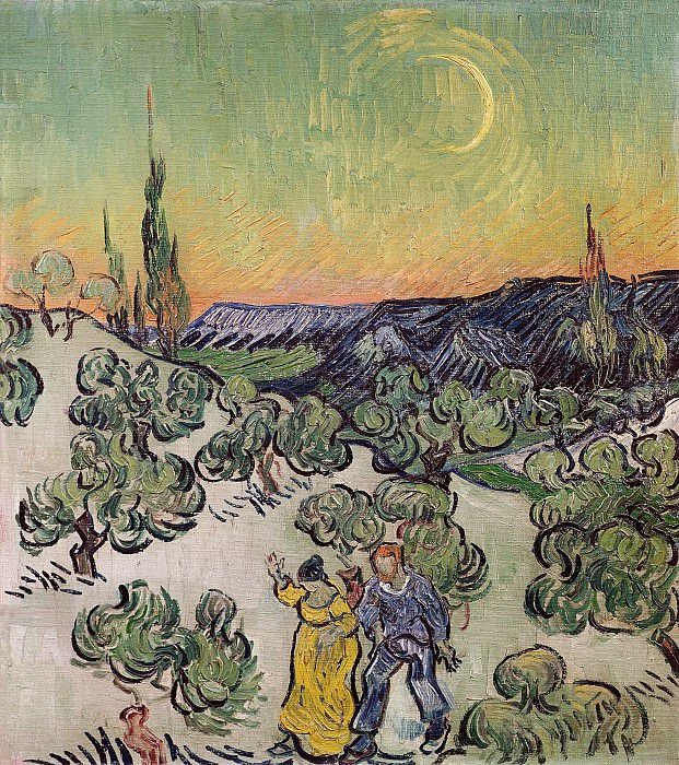 Landscape with Couple Walking and Crescent Moon. Vincent van Gogh