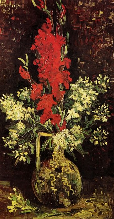 Vase with Gladioli and Carnations. Vincent van Gogh