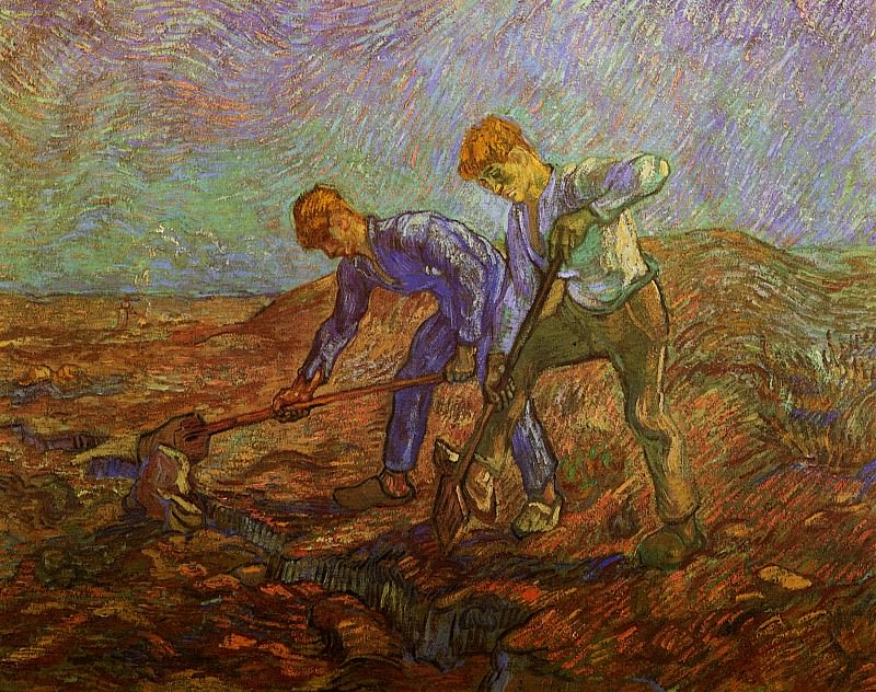 Two Peasants Digging. Vincent van Gogh