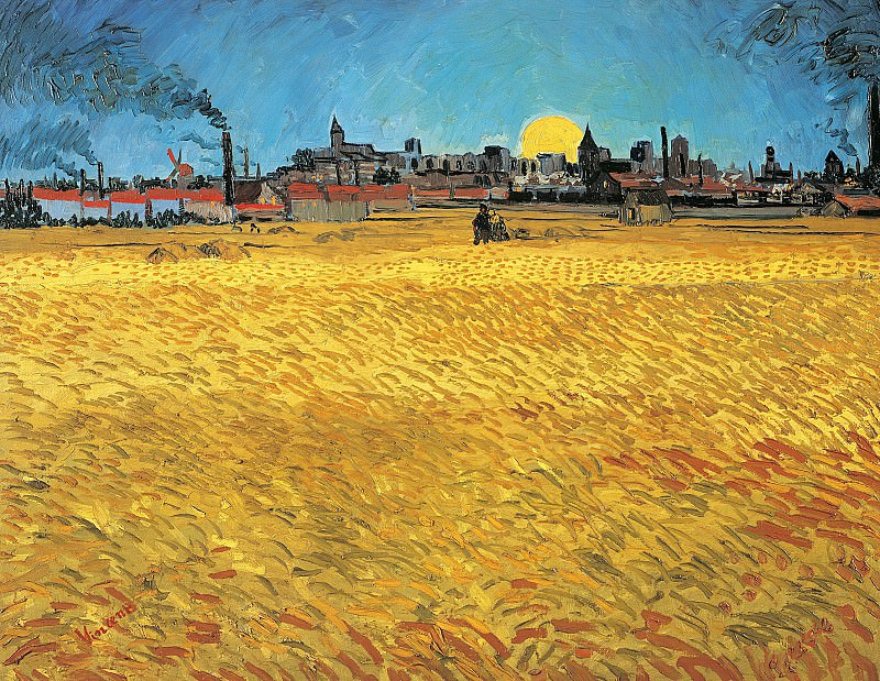 Summer Evening, Wheatfield with Setting sun. Vincent van Gogh