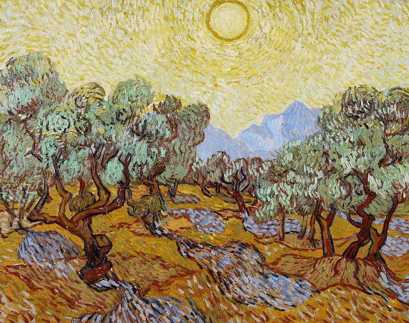 Оливковые деревья с желтым небом и солнцем. Винсент Ван Гог