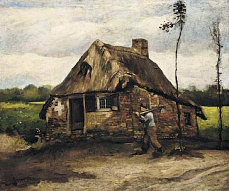 Cottage with Peasant Coming Home. Vincent van Gogh