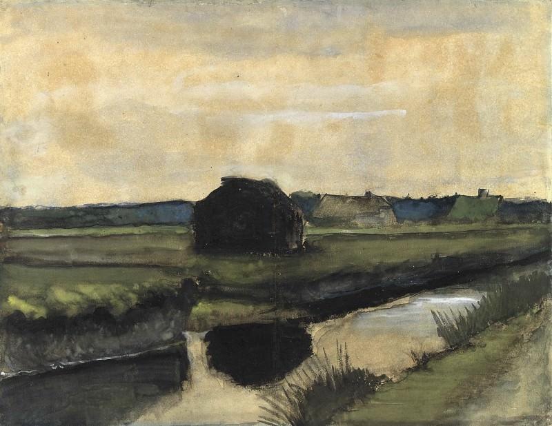 Пейзаж с грудой торфа и фермерскими домами. Винсент Ван Гог