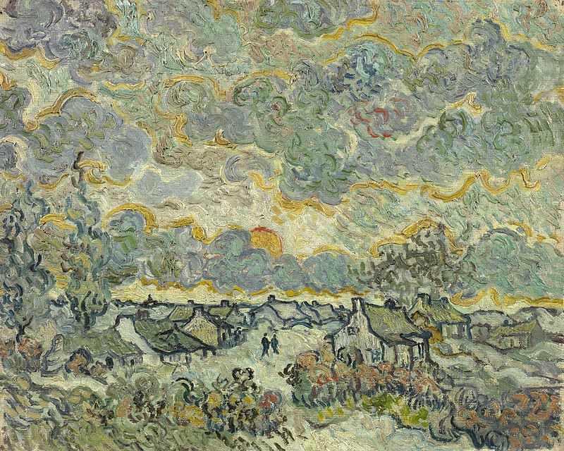 Cottages and Cypresses - Reminiscence of the North Brabant. Vincent van Gogh
