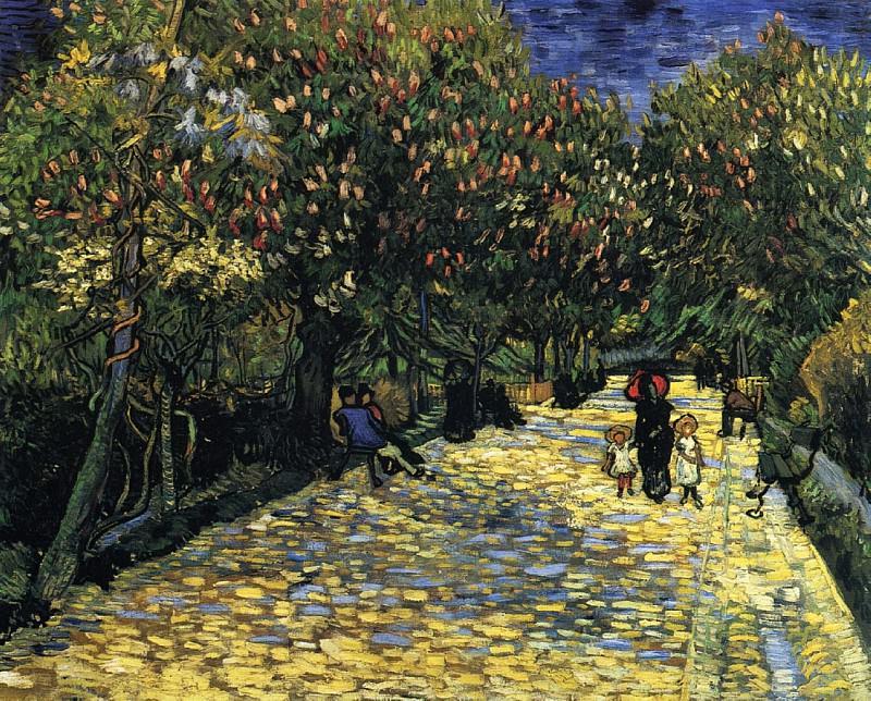 Улица с цветущими каштанами в Арле. Винсент Ван Гог