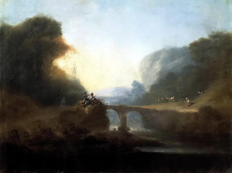 Landscape with stone bridge across mountain river. Hermitage ~ Part 05