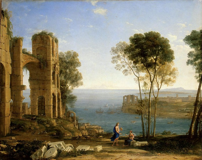 Gellee, Claude - Landscape with Apollo and the Sibyl Kuma. Hermitage ~ Part 05