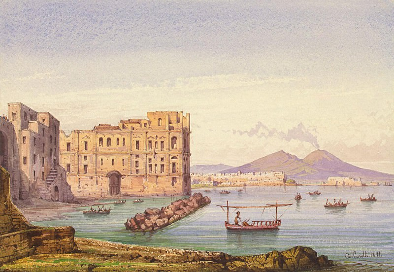 Carell, Achille - Neapolitan Landscape with a view of Vesuvius. Hermitage ~ Part 05