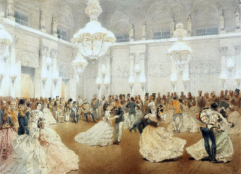Zichy, Mihaly - Ball in the Concert Hall of the Winter Palace during the official visit of the Shah Nasir al-Din in May 1873. Hermitage ~ Part 05