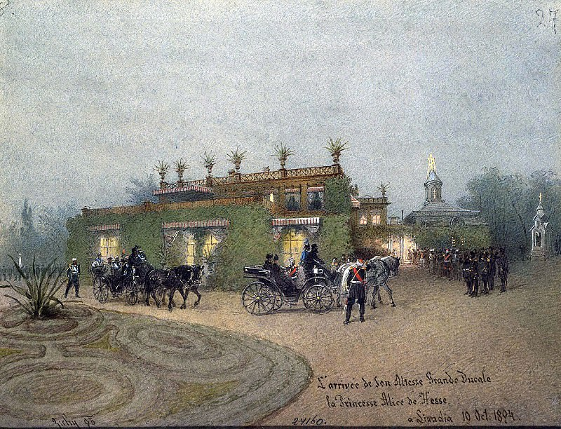 Zichy, Mihaly - Arrival of Princess Alice of Hesse to Livadia on Oct. 10, 1894. Hermitage ~ Part 05