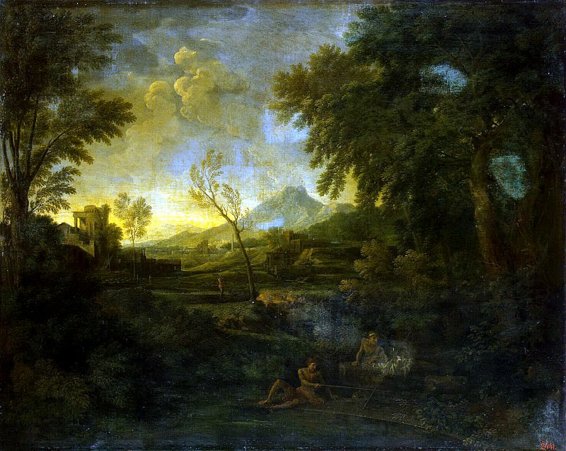 Dugue, Gaspard - Landscape with fishermen. Hermitage ~ Part 05
