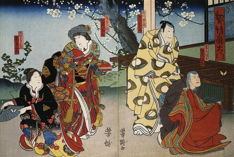Itietey Yoshitaka - Diptych Actors Dzitsukava Syatidzo, Dzitsukava Ensaburo, Fudzikava Tomokiti III, Arashi Kikusaburo. Hermitage ~ Part 05