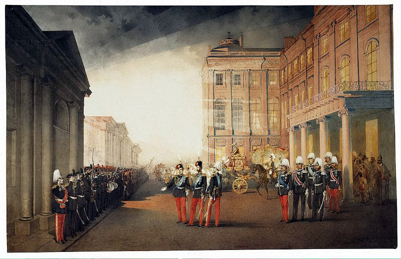Zichy, Mihaly - Parade in front of the palace Anichkov February 26, 1870. Hermitage ~ Part 05
