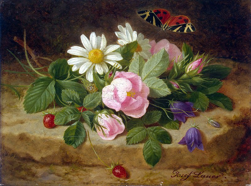 Launer, Josef - Bouquet of Flowers with a Butterfly. Hermitage ~ part 07