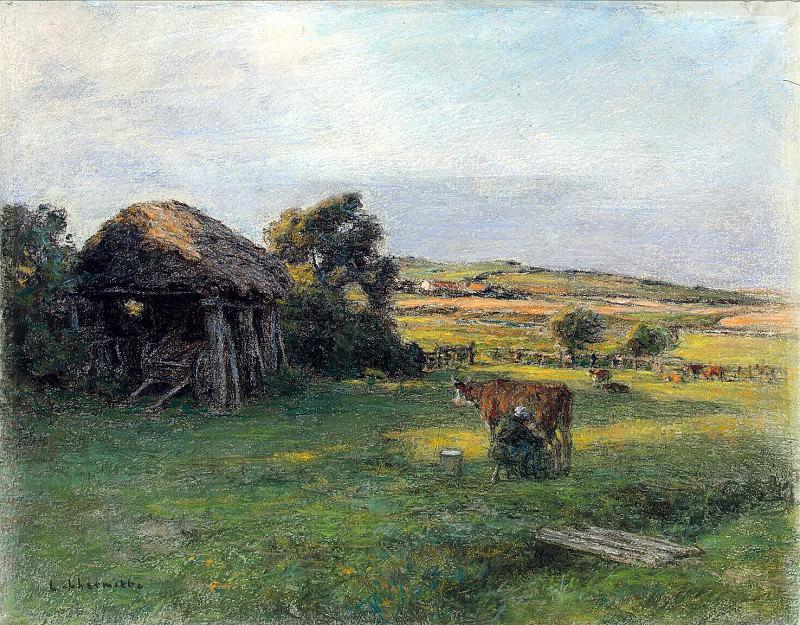 Лермит, Леон Огюстен - Пейзаж с крестьянкой, доящей корову. Эрмитаж ~ часть 7