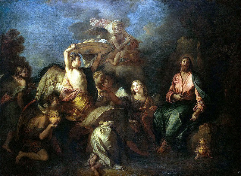 Lafosse, Charles de - Christ in the desert, surrounded by angels. Hermitage ~ part 07
