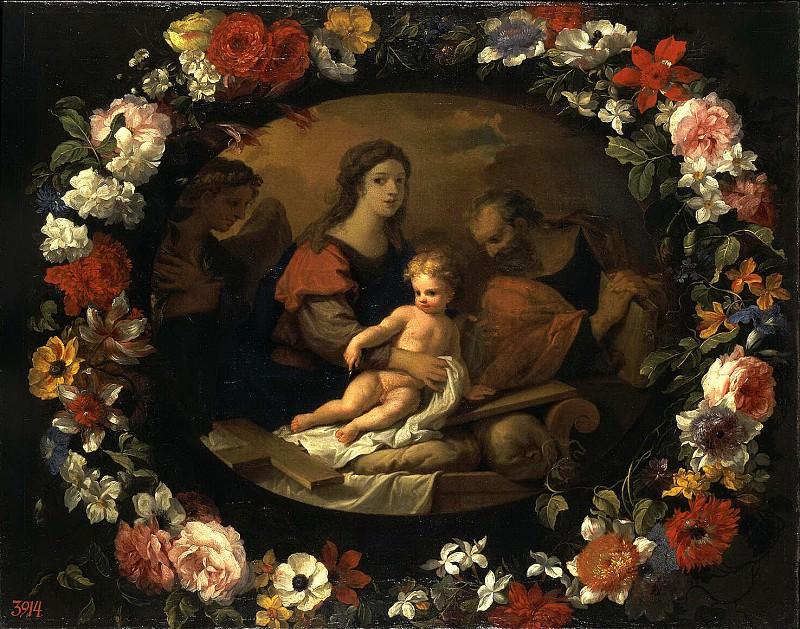 Loir, Nicolas Pierre Monnuaye, Jean-Baptiste - Holy Family in a wreath of flowers. Hermitage ~ part 07