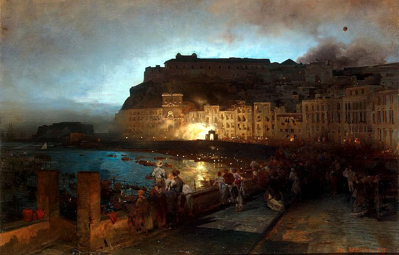 Achenbach, Oswald - Fireworks in Naples. Hermitage ~ Part 01