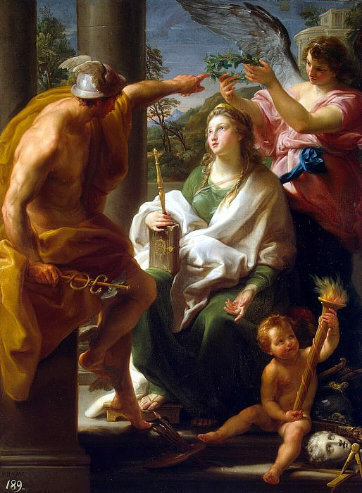 Batoni, Pompeo - Mercury, crowning philosophy, the Mother of Art. Hermitage ~ Part 01