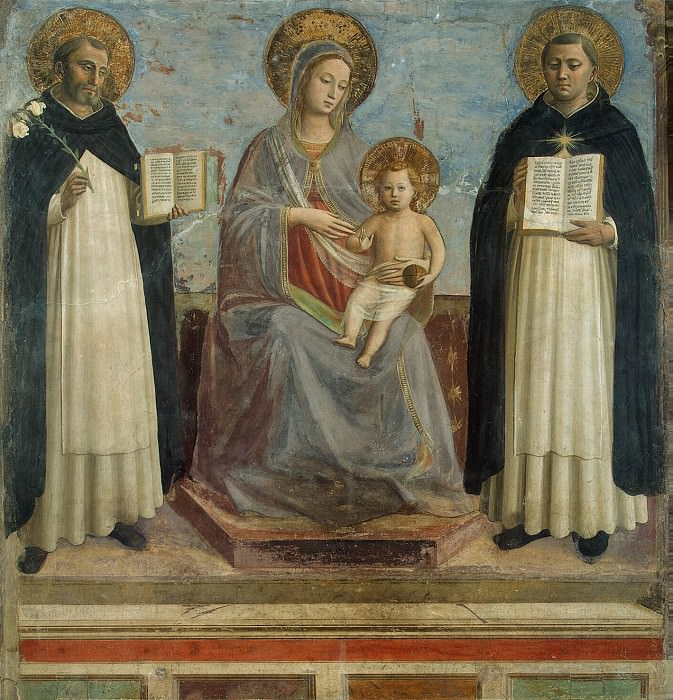 Angelico, Fra Beato - Madonna and Child with St. Dominic and St. Thomas Aquinas. Hermitage ~ Part 01