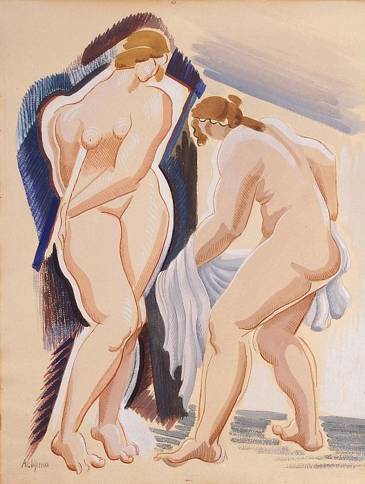 Archipenko, Alexander - Two nude female figure with a veil. Part 01 Hermitage