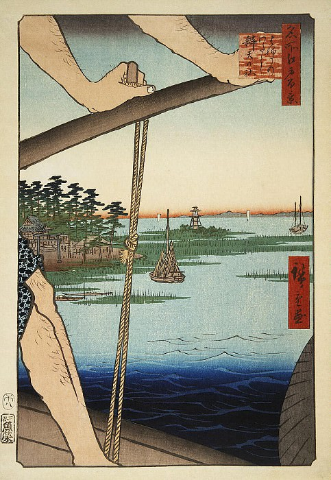 Ando Hiroshige - Sheet Benten Temple near the crossing Haneda. Hermitage ~ Part 01