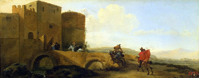 Asseleyn, Jan - Riders, galloping to the gate of the fortress. Hermitage ~ Part 01