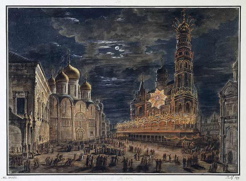 Alekseev, Fedor - Illumination on Cathedral Square in honor of the coronation of Emperor Alexander I. Hermitage ~ Part 01