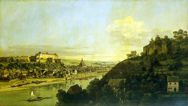 Bellotto, Bernardo - View of Pirna from the right bank of the Elbe River above the city. Hermitage ~ Part 01