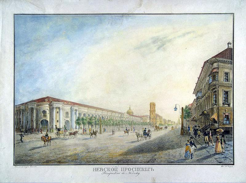 Beggrov, Karl Petrovich - View of Nevsky Prospekt near the arcade. Hermitage ~ Part 01