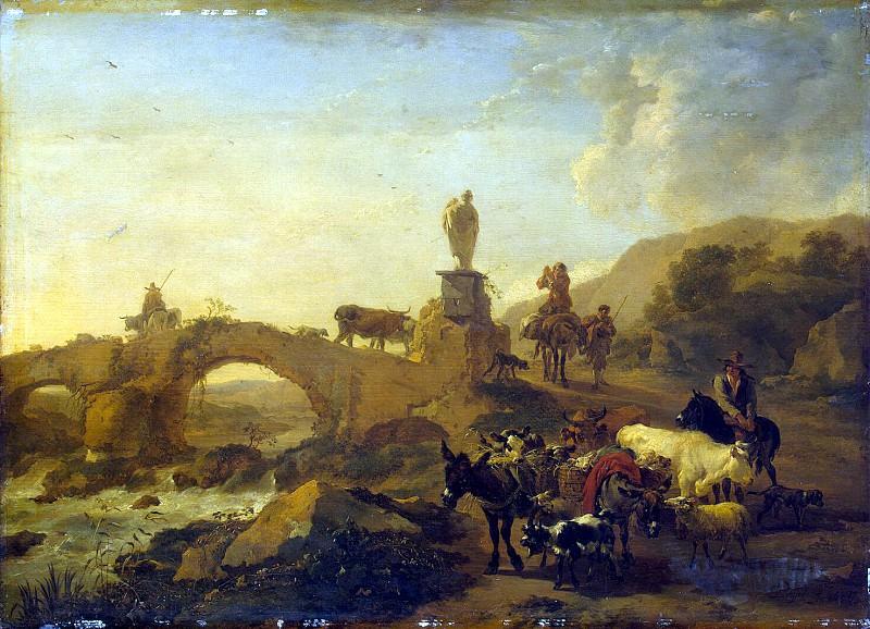 Burham, Nicholas Peters - Italian landscape with a bridge. Hermitage ~ Part 01