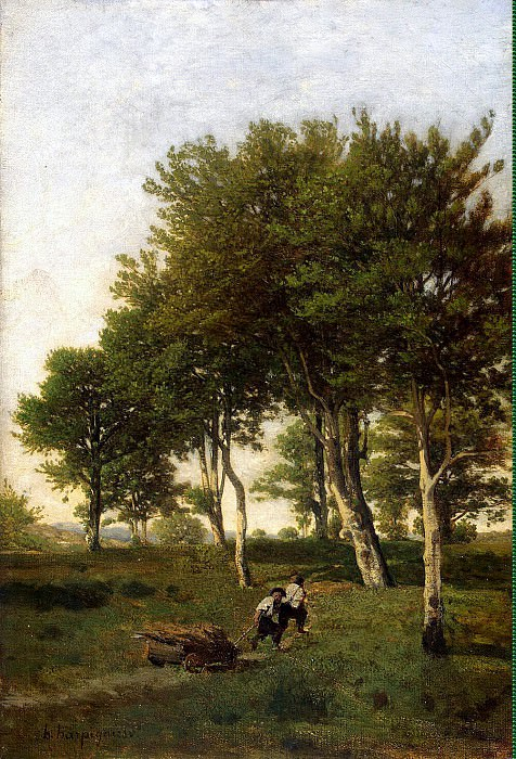 Arpine, Henri - Landscape with two boys carrying a brushwood. Hermitage ~ Part 01