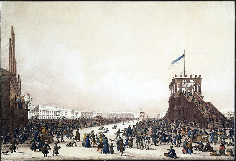 Beggrov Karl Petrovich - Shrove-tide festivities with coasting on the Imperial meadow in St. Petersburg. Hermitage ~ Part 01