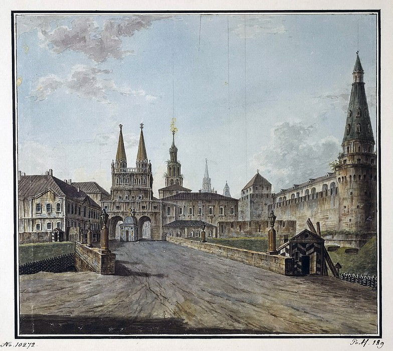 Alekseev, Fedor - View of the Resurrection Gates and Neglinny Bridge from Tverskaya Street. Hermitage ~ Part 01