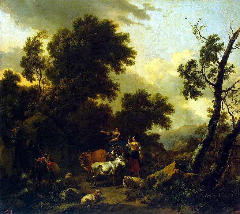 Burham, Nicholas Peters - Italian landscape with two girls and a herd. Hermitage ~ Part 01