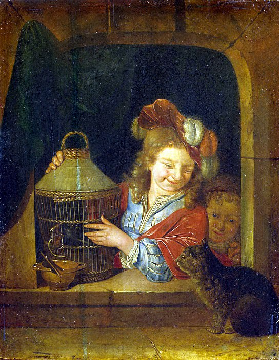 Ner, Eglon Hendrik van der - Children with a bird and a cat. Hermitage ~ part 09