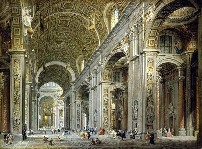 Panini, Giovanni Paolo - Interior of the Cathedral of St.. Peters in Rome. Hermitage ~ part 09