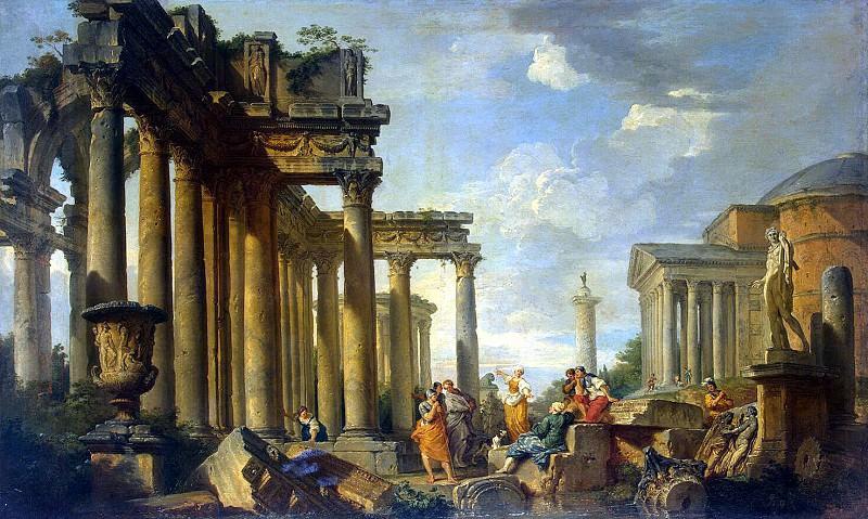Pannini, Giovanni - Sermon Sibyl in the Roman ruins of a statue of Apollo. Hermitage ~ part 09