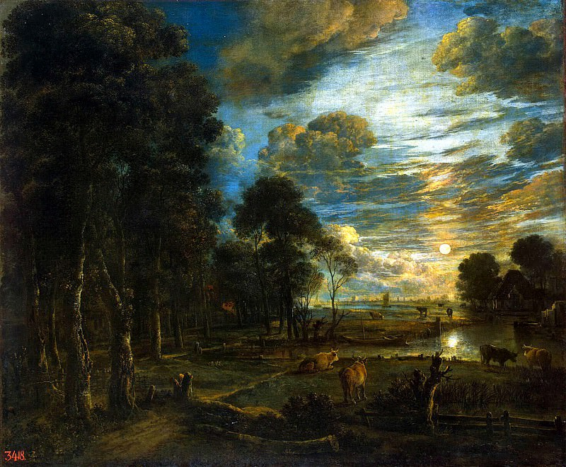 Ner, Art van der - Night Landscape with river. Hermitage ~ part 09