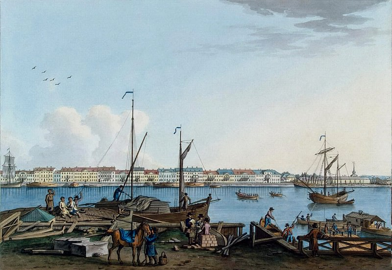 Paterssen, Benjamin - View of the Promenade des Anglais and Galerny yard with Vasilevsky Island. Hermitage ~ part 09
