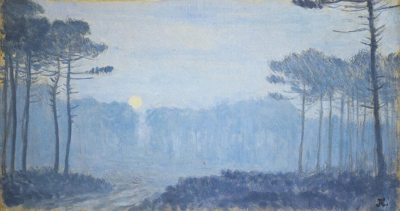 Obyurten, Jean-Francis - Landscape with pine trees on a moonlit night. Hermitage ~ part 09