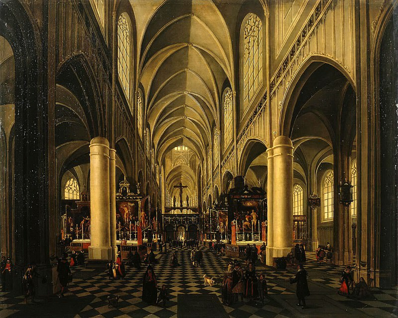 Neffs, Pieter the Elder Francken, Hieronymus II - Interior of a Gothic church. Hermitage ~ part 09