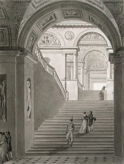 Persia, Charles, Fontaine Pierre - View of New stairs in the Museum of Napoleon I. Hermitage ~ part 09