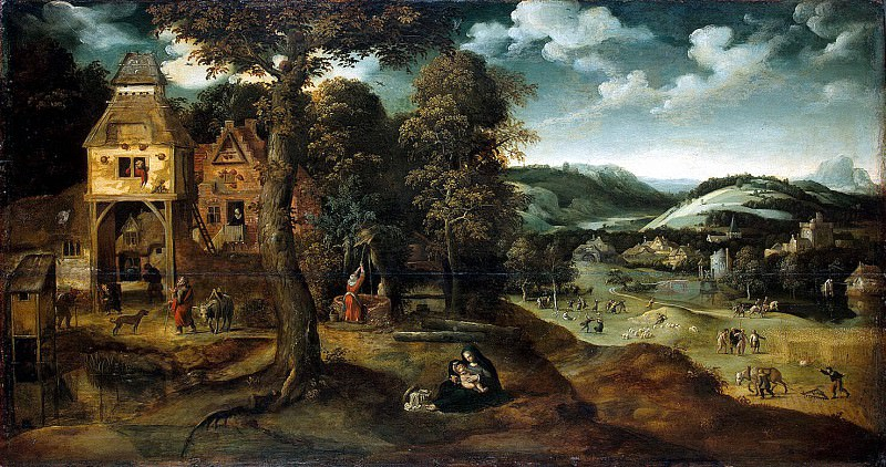 Patinir, Joachim - Landscape with a scene of relaxation on the way to Egypt. Hermitage ~ part 09