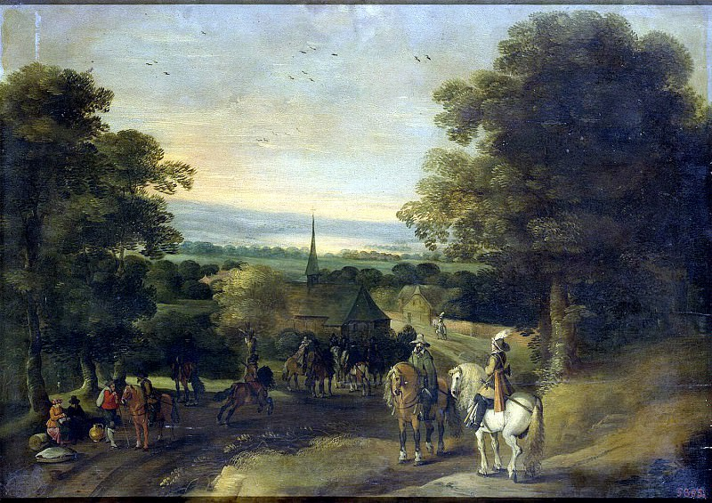 Austen, Isaac van - Landscape with a group of cavalrymen. Hermitage ~ part 09