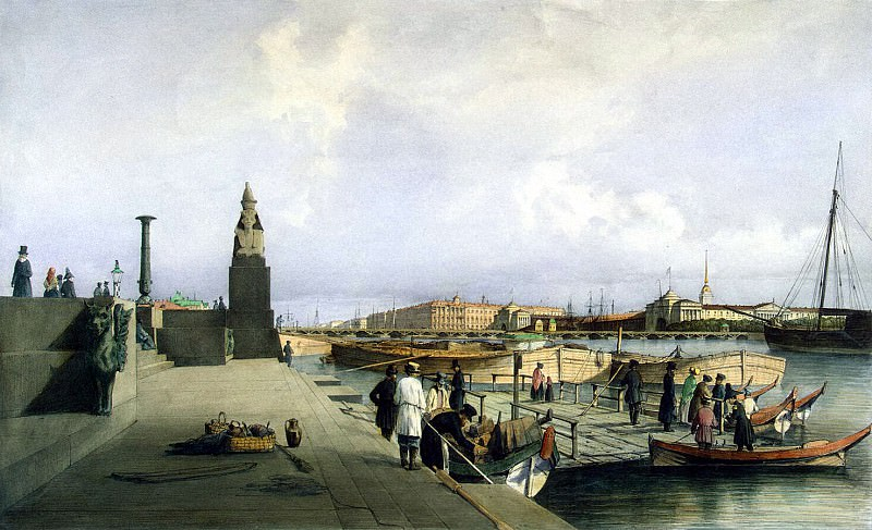 Perrot Ferdinand-Victor - View of the Neva in the descent of the Academy of Fine Arts. Hermitage ~ part 09