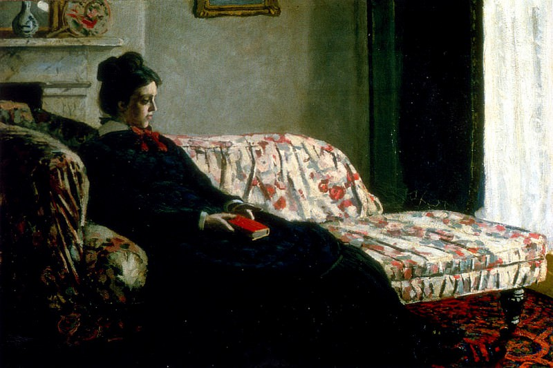 Meditation, Madame Monet Sitting on a Sofa. Claude Oscar Monet