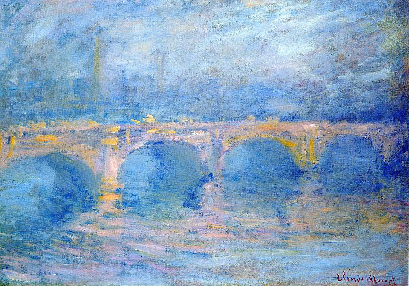 Waterloo Bridge at Sunset, Pink Effect. Claude Oscar Monet