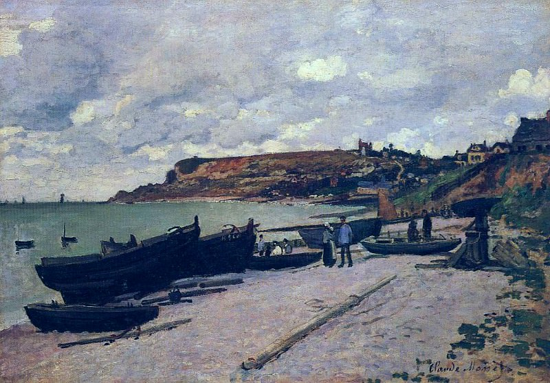 Sainte-Adresse, Fishing Boats on the Shore. Claude Oscar Monet