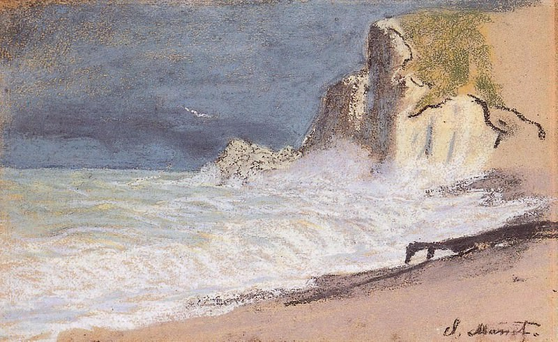 The Manneport, Etretat - Amont Cliff, Rough Weather. Клод Оскар Моне